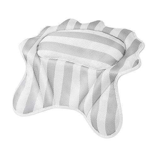(Bath Pillow - Bathtub Spa Pillow Bath Cushion, Spa Headrest for Tub, 3D Air Mesh Technology, 6 Suction Cups for Non Slip, Washing Bag as Free Gift)