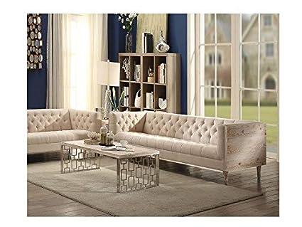 Swell Amazon Com Esofastore Beige Button Tufted Sofa Set 2Pcs Creativecarmelina Interior Chair Design Creativecarmelinacom