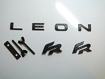 Negro Fibra de Carbono Efecto Leon FR Portón Trasero Emblema ...