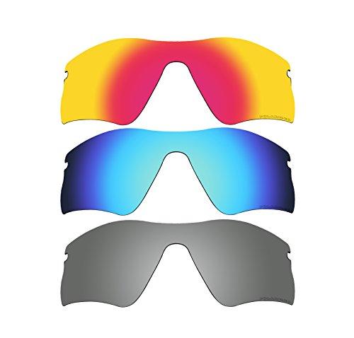3 Pairs BVANQ Polarized Replacement Lenses for Oakley Radar Range Sunglasses Fire Red & Blue & Black - Sunglasses Lacrosse