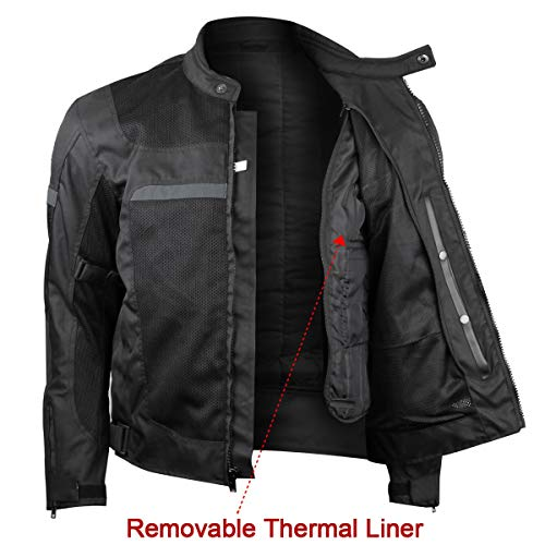 Mens Motorcycle Perforated Textile Reflective Mesh Riding 3 Season Jacket with CE amors (XL)