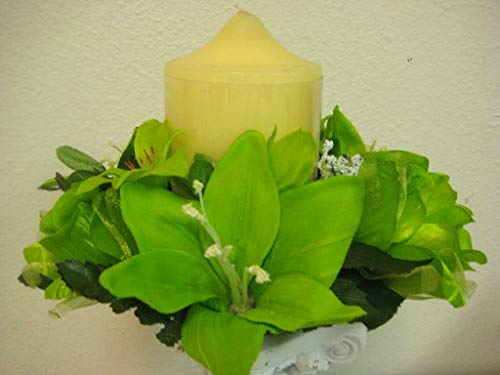 JumpingLight Lot of 3 Lime Rose & Lily Silk Flowers 3'' Candle Rings Silk Artificial 693LIM Artificial Flowers Wedding Party Centerpieces Arrangements Bouquets Supplies