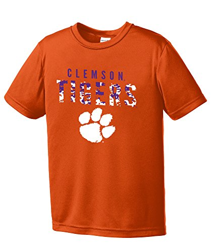 NCAA Youth Boys Digital Camo Mascot Short Sleeve Polyester Competitor T-Shirt, Clemson Tigers, Orange - Youth Large