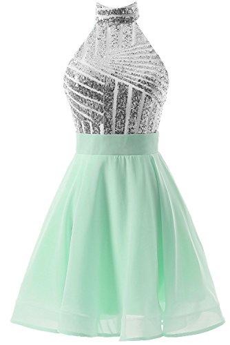 Women's Homecoming DYS Party Short Prom Backless mint for Juniors Dress Halter Dress Silver Uwnwqd4g6