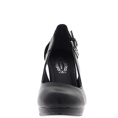 Scarpe nere con tacchi sottili della nervatura aperto 10,5 cm