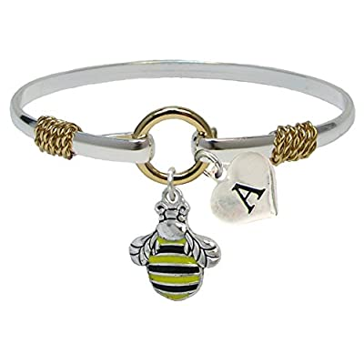 wholesale Bracelet Custom Bumble Bee Silver Gold Wire Jewelry Honey Initial Family Charms hot sale