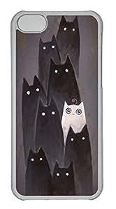 Customized iphone 5C PC Transparent Case - I Am White Cat Cover