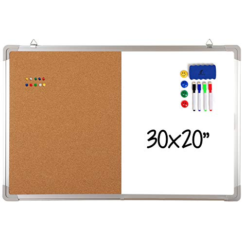 Combination Whiteboard Bulletin Board Set - Dry Erase/Cork Board 30 x 20