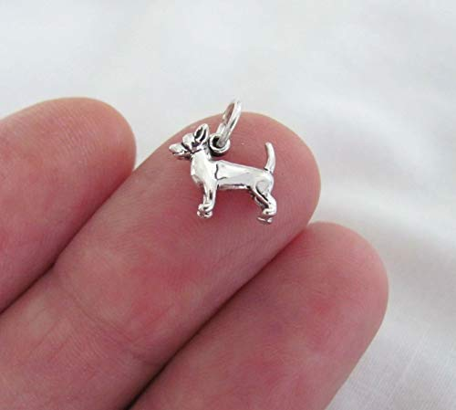 Pendant Jewelry Making/Chain Pendant/Bracelet Pendant Small Sterling Silver Chihuahua Dog Miniature Charm.