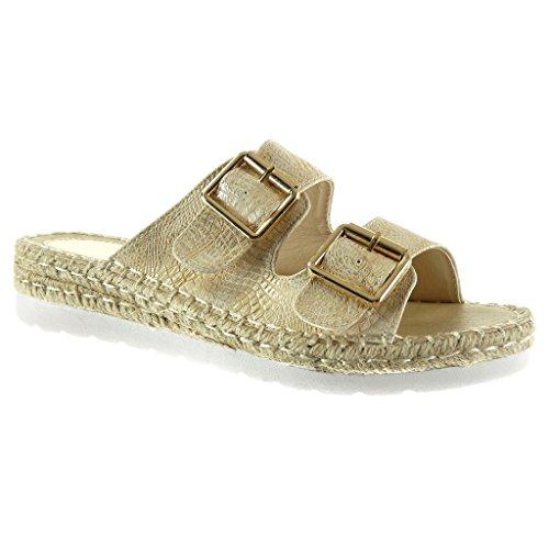 Angkorly - Chaussure Mode Sandale Espadrille semelle basket femme peau de serpent croco corde Talon compensé 3.5 CM - Or