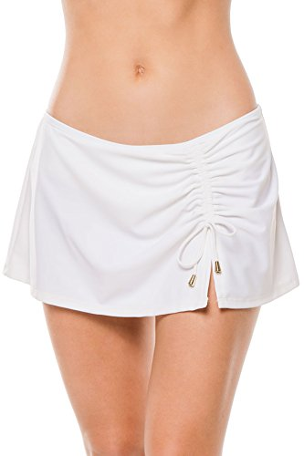 Cabana Life Women's White Swim Skirt Bikini Bottom with Adjustable Drawstring, Whte, M