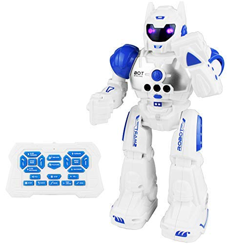 Wal Aa Mart Batteries (Boley Bot Strong Remote Controlled Robot Toy Gesture Control - Dancing, Singing, Walking Talking Robot Friend Kids - Blue)