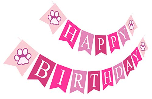 Puppy Happy Birthday Banner | Girl Birthday Sign | Paper Card Stock Bday Party Decoration - Pink -