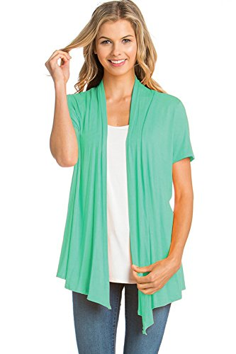 - 12 Ami Basic Solid Short Sleeve Open Front Cardigan Mint Large