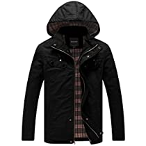 Wantdo Mens Cotton Lightweight Jacket with Removable Hood