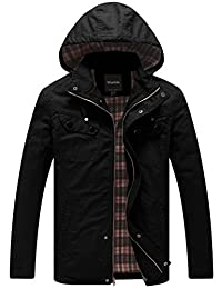 Wantdo Men's Cotton Lightweight Jacket with Removable Hood