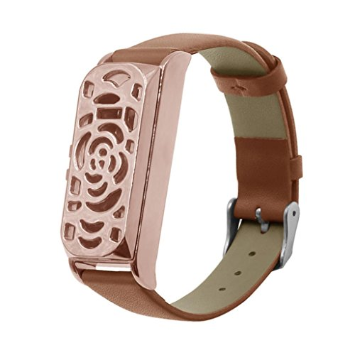 Price comparison product image MChoice Leather Accessory Bangle Watch Band Wrist Strap + Metal Frame For Fitbit Flex (Rose Gold)