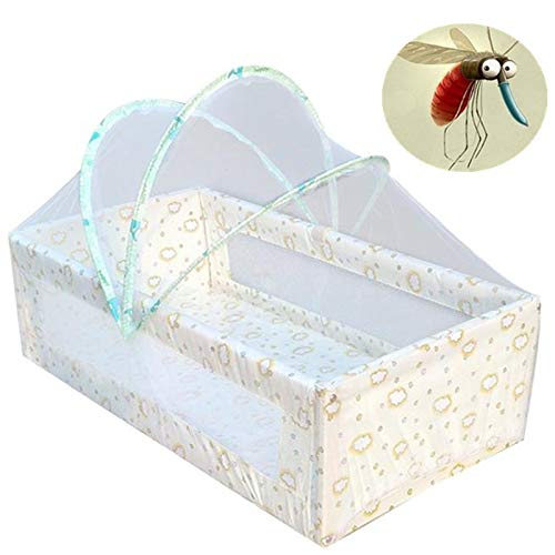 Cotton Moses Stripes Basket (Gotian Universal Baby Cradle Bed Mosquito Nets Summer Baby Arched Mosquitos Net with 3Pcs Cane)