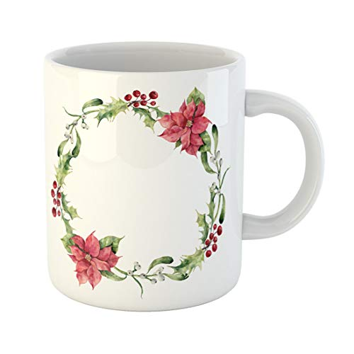 Semtomn Funny Coffee Mug Watercolor Christmas Wreath Holly Mistletoe and Poinsettia Hand Floral 11 Oz Ceramic Coffee Mugs Tea Cup Best Gift Or Souvenir