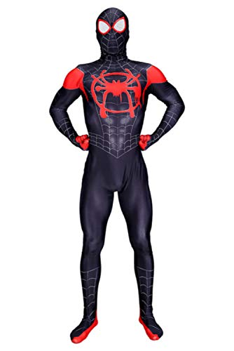 CHECKIN Toddler Kids Spider Verse Miles Morales Gwen Jumpsuit Bodysuit Black Spider Tights Zentai Costume (Adult L, Adult Miles Morales)