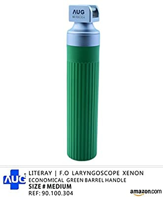 Literay Fiber Optic Laryngoscope Xenon Light Green Barrel Handle Size Medium