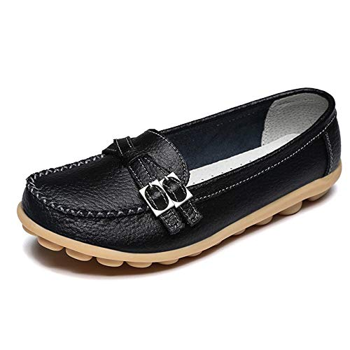 - xuanyu Women Leather Loafers Soft Non-Slip Flat Casual Driving Moccasin Shoes Black