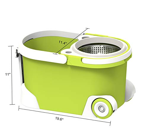ALLZONE Spin Mop Bucket With Wringer On Wheels, Hardwood Floor Cleaning System, With 3 Microfiber Mop Refills by ALLZONE (Image #2)