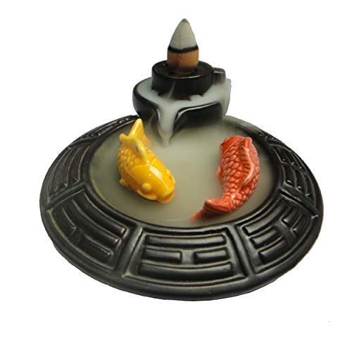 Pisces Incense - ShuangChuang Backflow Incense Burner Ceramic Gossip Fish, Incense Cones & Sticks Holder, Ideal for Yoga Room & Home Decoration & Handicraft Gift