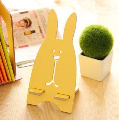 Pofat Wooden Rabbit Phone Holder (Yellow, Rabbit)