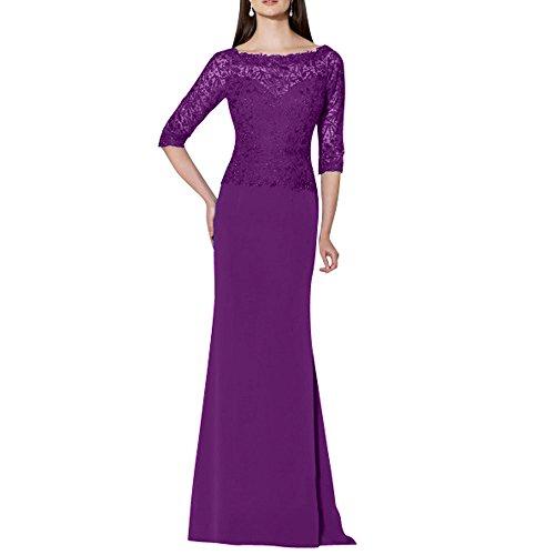 Festlichkleider La Etuikleider Spitze Abendkleider Langes Chiffon Brautmutterkleider mia Abschlussballkleider Violett Brau 0rzpx0Oq