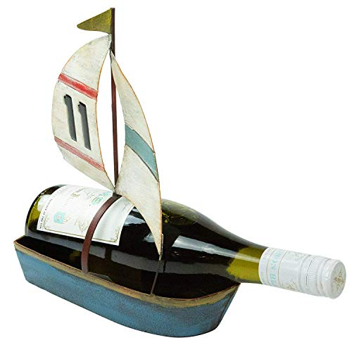 Thirteen Chefs Sail Boat Wine Bottle Holder, Wine Rack for Boating Enthusiasts
