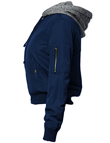 Warm Hoodie Mixed French Terry Bomber Jackets 124-Navy Medium
