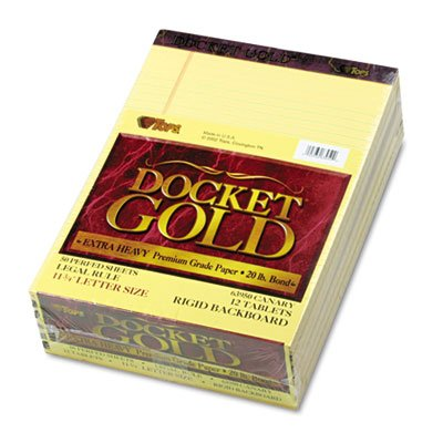 Docket Gold Perforated Pads, Legal Rule, Letter, Canary, 12 50-Sheets Pads/Pack, Total 6 PK, Sold as 1 Carton