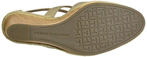 Tommy Hilfiger E1285zmie 1d, Sandalias con Cuña para Mujer Beige (Sand 102)