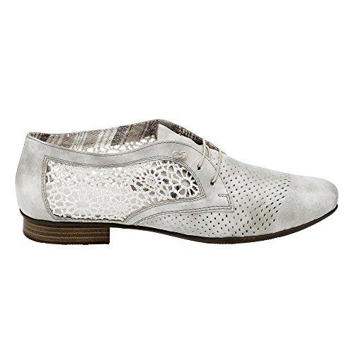 Rieker 51928, Zapatos de Cordones Derby para Mujer Grau (grey/offwhite / 40)