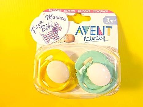 Avent Chupete Silicona 3 m + (Amarillo/Mint): Amazon.es: Bebé