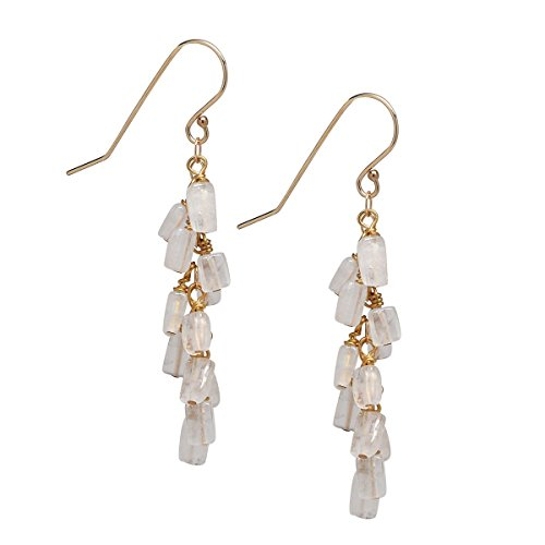 Moonstone Cascade Gold Earrings, 14K Gold Filled - Moonstone Gold Chandelier Earrings