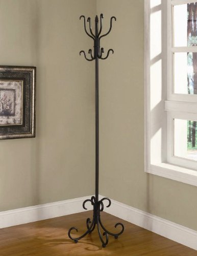 Black finish scrolled metal coat rack with curved feet and multiple hooks