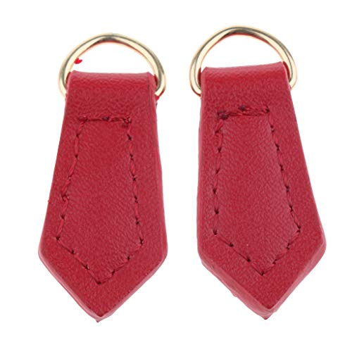 Prettyia 2/Pack Real Leather Zipper Pull Tabs Tags Puller Replacement Handbag Repair Supplies - Red, as described