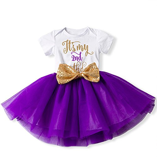 IBTOM CASTLE Girl Newborn It's My 1st/2nd Birthday Shinny Printed Tutu Princess Dress Onesie Outfit Set Purple (2 Years)