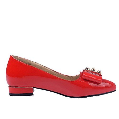 ... VogueZone009 Damen Niedriger Absatz Spitz Zehe Rein Ziehen auf Pumps  Schuhe Rot ...