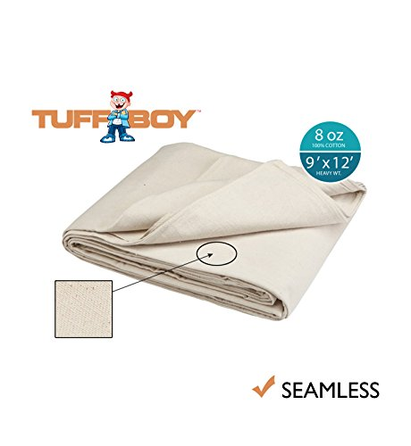 Tuff Boy Cotton Canvas Drop Cloth, Seamless, 9 x 12 Feet, 8 oz (Patio Drop Cloth Curtains)