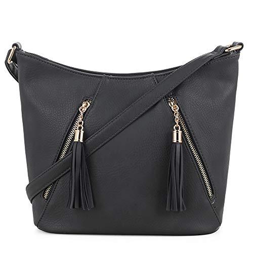 DELUXITY | Crossbody Hobo Slouch Bucket Purse Bag | Functional Multi Pocket with Tassel | Adjustable Strap | Black ()