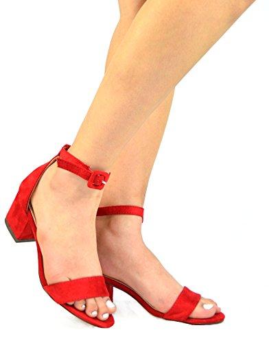 Chase & Chloe Venus-4 Cinturino Alla Caviglia Donna Sandalo Con Tacco Basso Rosso