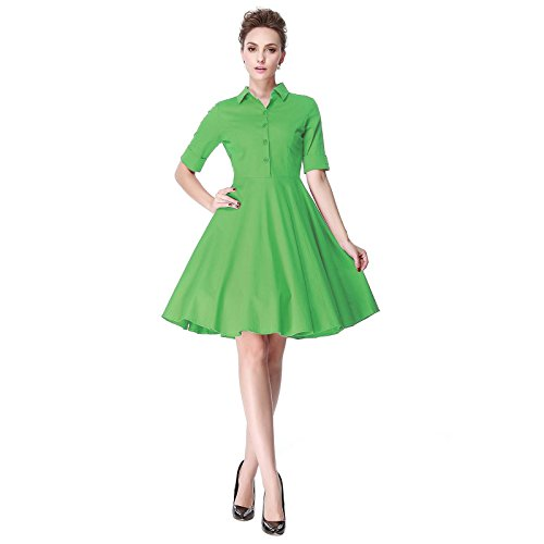 [Heroecol Womens Vintage 1950s Dresses Polo Neck Short Sleeve 50s 60s Style Retro Swing Cotton Dress Size 2XL Color] (Easy Halloween Costume To Wear To Work)