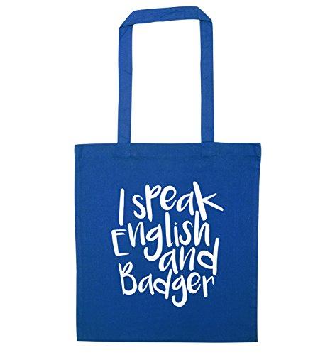 Blue I English tote badger speak and bag fqYr1