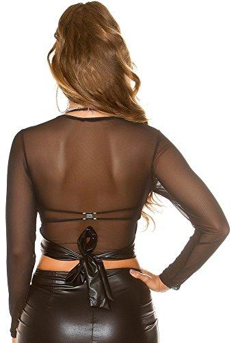 Crop Langarmshirt im coolen Lederlook mit Mesh-Optik * S M L * Shirt Leder-Optik Damen Clubwear Party (T9488 900168 schwarz Gr. S)