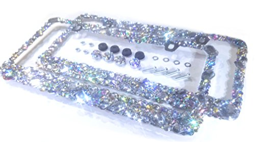 CRYSTAL RIDERS 2 Bling License Plate Frames with Crystals Ab Iridescent Clear Metal Chrome Zink Alloy Screw Cover Cap Holder Sparkly Sparkle Custom Hand Made Hand Crafted