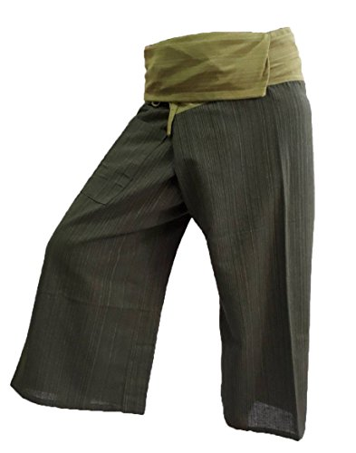 BELLEZAS 2 Tone Thai Fisherman Pants Yoga Trousers Plus Size Cotton Stripe (Green/Dark Green) by BELLEZAS