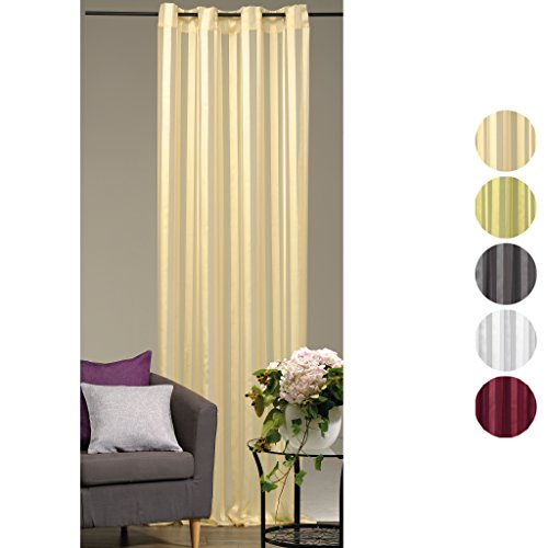 Dekoschal Gardine Vorhang Streifen halbtransparent Auswahl: Ösenschal 140x 245cm beige - vanille